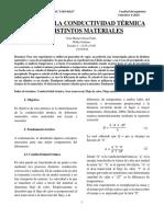 Medición de la conductividad térmica de distintos materiales