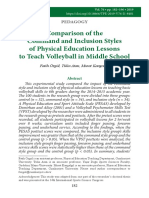 Comparison of Command and Inclusion Styles of Physical Education Lesson