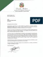 Carta de condolencias del presidente Danilo Medina por fallecimiento de Mariant de la Mota