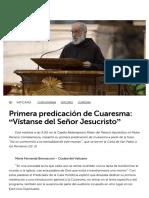 Primera Predicación de Cuaresma