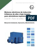 WEG Motores Electricos de Inducci n Trif Sicos de Alta y Baja Tensi n Para Atm Sferas Explosivas l Nea m Rotor de Anillos Horizontales 13695210 Manual Espanol