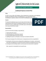 WUSTL Formaldehyde Exposure Control Plan
