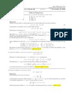 Corrección primer parcial de Cálculo III, martes 1 de octubre de 2019