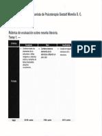 Rubrica de Evaluación Para Reseña Literaria