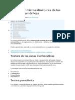 Texturas y Microestructuras de Las Rocas Metamórficas