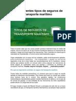 7. Los Diferentes Tipos de Seguros de Transporte Marítimo