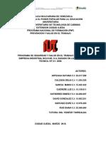 Programa de Seguridad y Salud en El Trabajo Para La Empresa Industrial Bolivar, s.a, Basado en La Norma Tecnica. Nt o1- 2008.