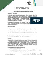 Protocolo etapa productiva