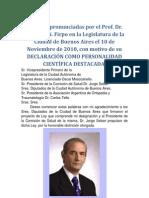 Dr. Carlos A. N. Firpo. Declaración de Personalidad Científica Destacada. Legislatura de Bs. As. Noviembre 2010