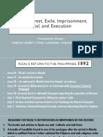 Rizals Arrest Exile Imprisonment Trial