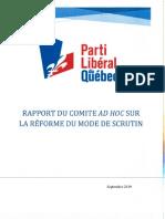 Rapport du comité ad hoc sur la réforme du mode de scrutin