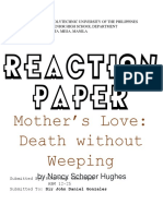 REACTIONPaper(Mothers Love Death Withot Weeping).docx