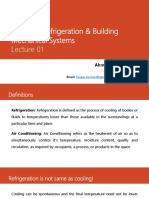 ME 375 - Refrigeration & Building Mechanical Systems - BME0319 Manchar - Lecture 01