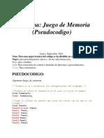 Pseudocodigo de Juego de Memoria