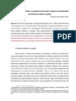 A legislação brasileira e a gerência do ensino oficial na Construção de discurso sobre a nação