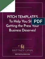 Pitch Templates Workbook