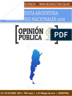 Encuesta Cb Consultora - Argentina - 01 y 02 de Octubre de 2019 - 7931 Casos - 1,1% m. de Error - Elecciones Nacionales 2019
