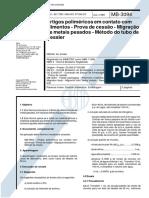 NBR 11289 - 1989 - Artigos Poliméricos Em Contato Com Alimentos