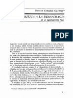 Crítica a La Democracia en El Capitalismo Real