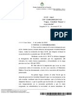 """Resolución de la Sala I de la Cámara Nacional en lo Criminal y Correccional Federal en causa CFP 13.816/2018 """"López, Cristóbal Manuel s/ excarcelación"""""""