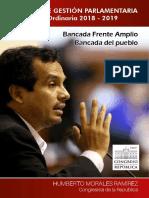 Humberto Morales. INFORME DE GESTIÓN PARLAMENTARIA. Legislatura Ordinaria 2018 - 2019.