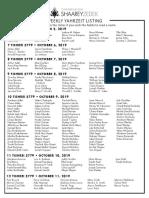 October 5, 2019 Yahrzeit List