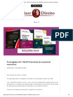 Dizer o Direito_ Promulgada a EC 100_2019 (Emenda Do Orçamento Impositivo)