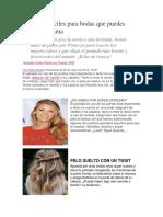 Peinados Fáciles Para Bodas Que Puedes Hacer Tú Misma