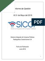 Informe de Gestión SICOP Al 31 Mayo Del 2019