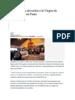 Origen de La Devoción a La Virgen de Cancharani en Puno