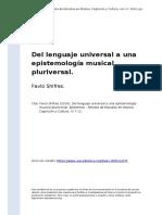 Favio Shifres (2016). Del Lenguaje Universal a Una Epistemologia Musical Pluriversal