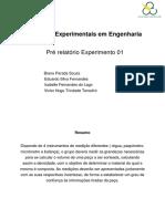 Experimento 01 Pré Relatório - Métodos Experimentais em Engenharia