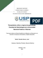 Pensamiento crítico y logros de aprendizaje, Facultad de Odontología de la Universidad Nacional Federico Villarreal