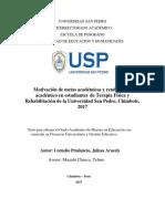 Motivación de metas académicas y rendimiento académico en estudiantes de Terapia Física y Rehabilitación de la Universidad San Pedro, Chimbote, 2017