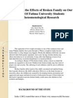 Analysis of the Effects of Broken Family on Ourl Lady of Fatima University