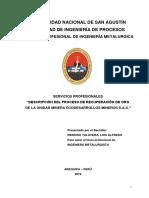 Descripción Del Proceso de Recuperación de Oro de La Unidad Minera Ecodesarrollos Mineros