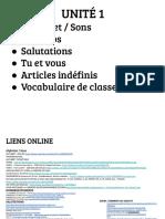 A1 - UNITÉ 1 - Alphabet-numeros-saluer- Vous- Articles Indefinis