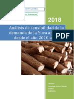 Análisis sensibilidad de la demanda Yuca amarilla