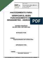 Procedimiento calibración densimetro