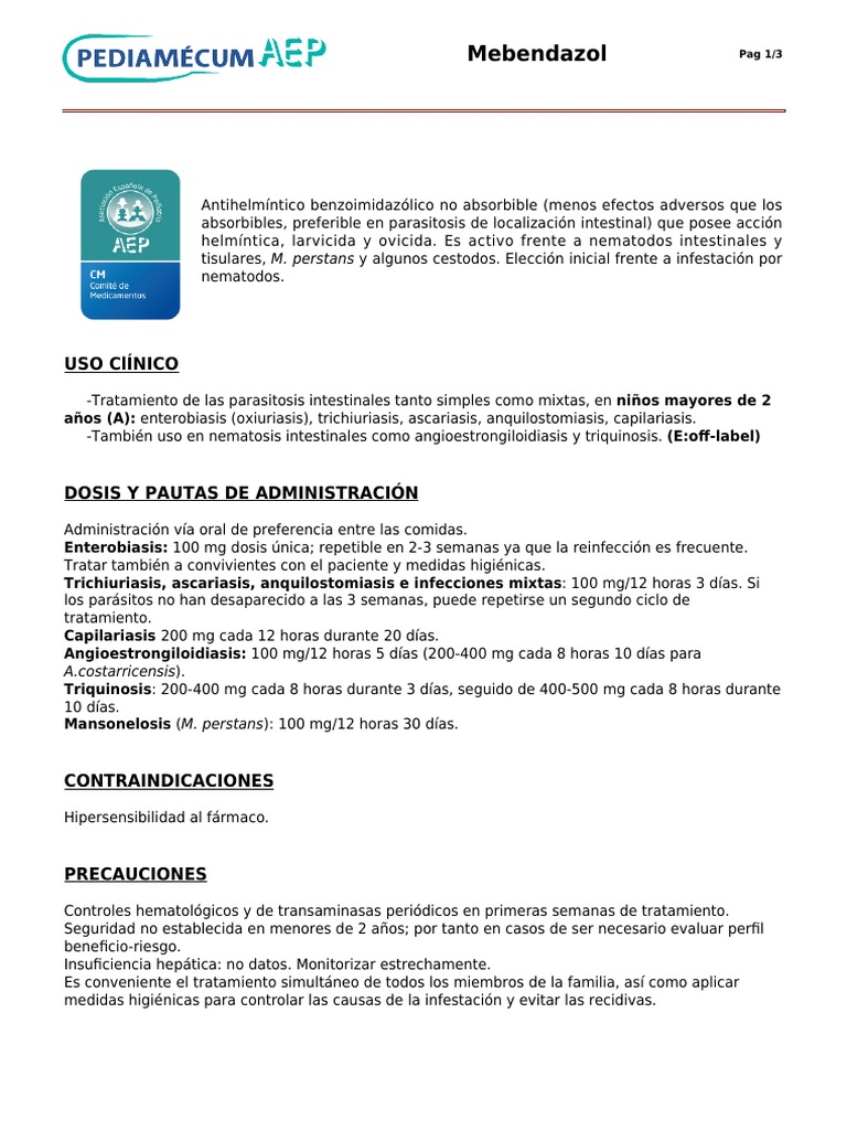 anquilostomiasis mebendazol