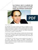 La medida busca declarar nula la resolución del  Congreso que designa a Gonzalo Ortiz de Zevallos  como nuevo miembro del Tribunal Constitucional