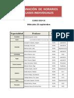 Asignacion de Horarios Clases Individuales 19-201 x 25 Septiembre
