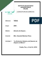 Actividad 1, La Evolución Histórica Del Derecho de Amparo en México 5 Oct. 2019