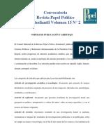 Convocatoria - PAPOES - Vol. 15 N° 2