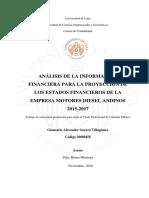 Análisis de La Información Financiera Para La Proyección de Los Estados Financieros de La Empresa Motores Diesel Andinos 2015-2017