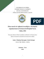 Observatorio de vigilancia tecnológica y desempeño organizacional en Farmacia del Hospital Naval, Callao, 2016