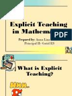 Explicit Teaching in Mathematics