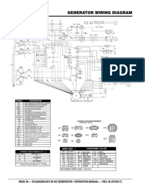 Dca40ssku4f2 Generator And Engine Wiring Diagram Color