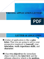 WRITING APPLICATION LETTERS