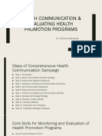 Health Communication & Evaluating Health Promotion Programs